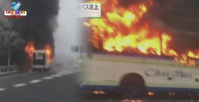 &nbspÔnibus com 16 passageiros pega fogo em via expressa de Hiroshima