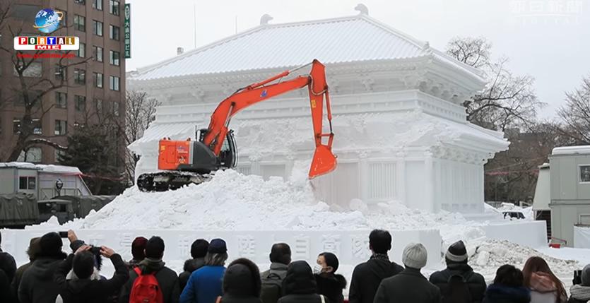 &nbspApós famoso festival da neve, demolição das belas esculturas também atrai multidões
