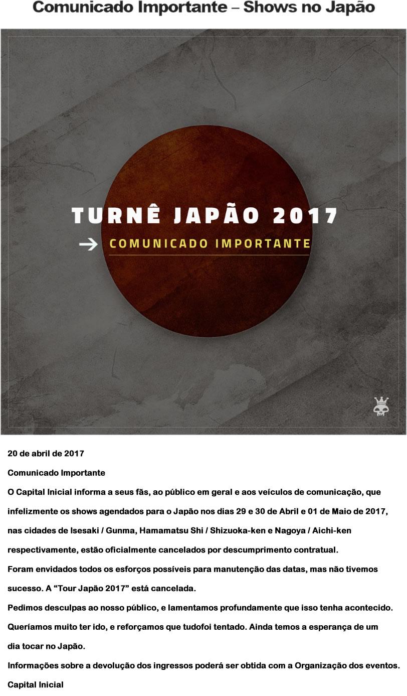 &nbspTurnê do Capital Inicial no Japão foi cancelada
