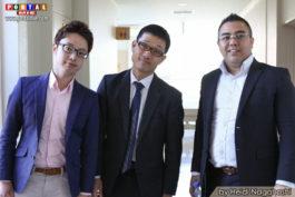 Yuji Une junto ao Sugiyama Munetoshi e Fujimoto Hiroshi