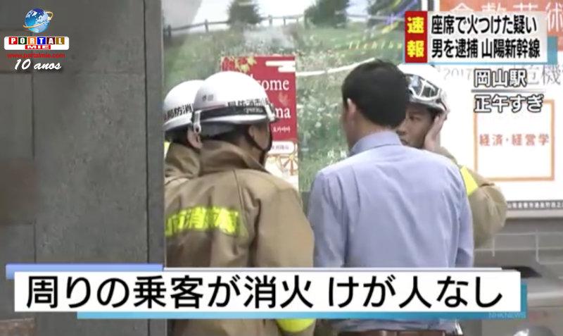 &nbspHomem é preso em flagrante por atear fogo dentro do shinkansen