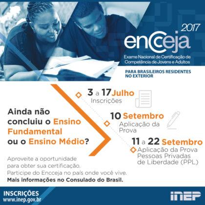 &nbspBrasileiros residentes no exterior podem se inscrever para o Encceja 2017 até 17 de julho
