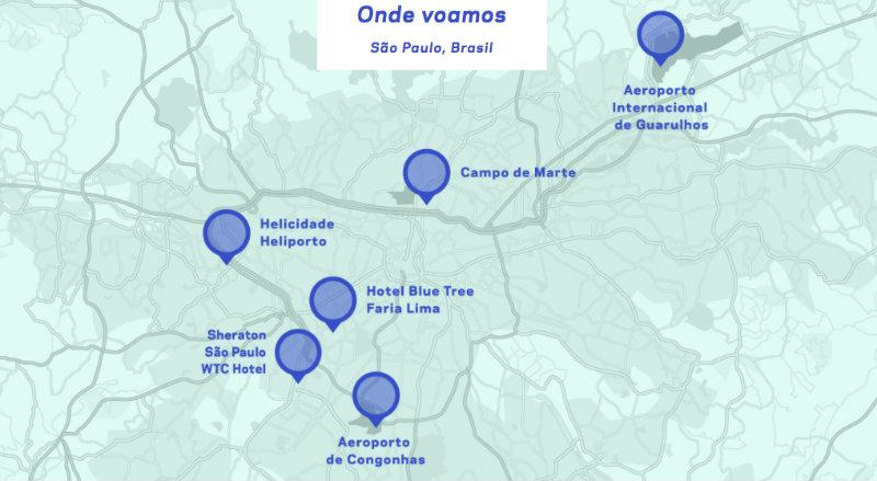 &nbspDe Guarulhos ao centro de São Paulo com helicóptero barato como o táxi Uber