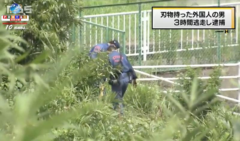 &nbspEstrangeiro confronta polícia com faca, foge mas é pego mais tarde