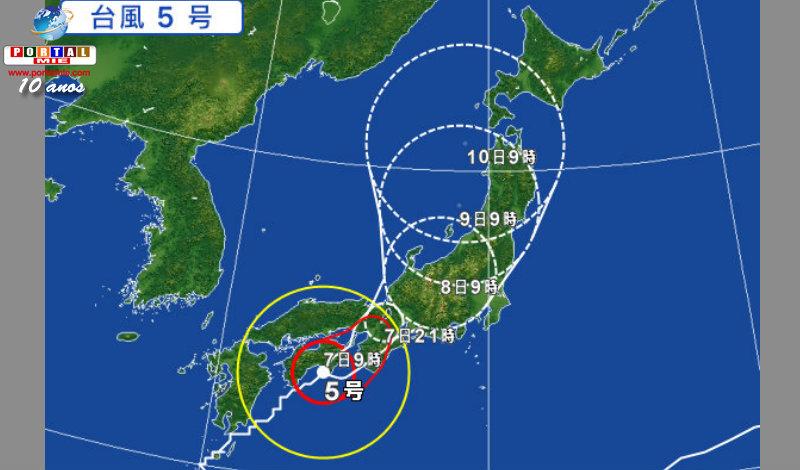&nbspTufão n.º 5 avança trazendo chuvas de 500mm para Tokai e Kinki