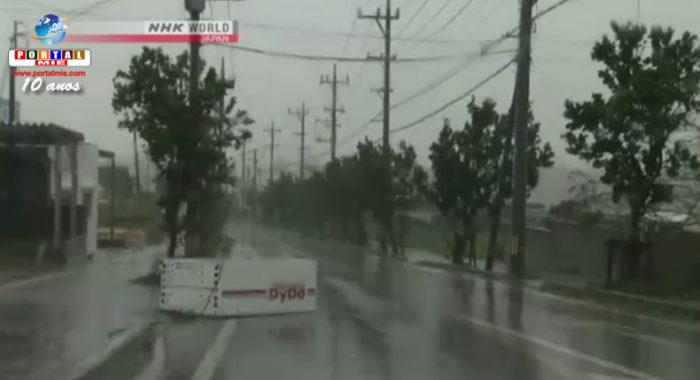 &nbspForte ventania do tufão Nº18 atinge ilha de Okinawa