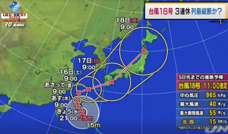 &nbspForte tufão 18 poderá cobrir todo o Japão no feriado