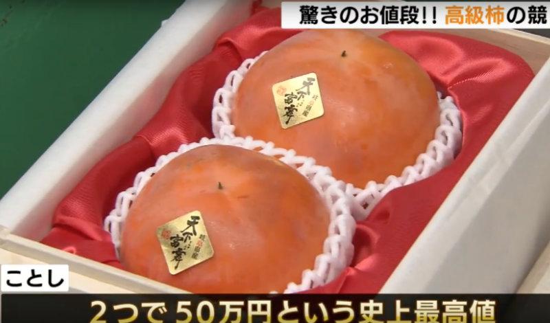 &nbspDois caquis obtêm oferta recorde de 500 mil ienes