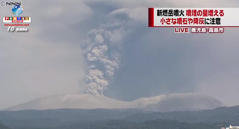 &nbspVulcão no sul do Japão continua em erupção