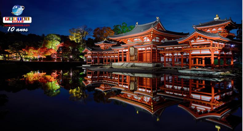 &nbspA bela iluminação especial de outono do Byodo-in em Quioto