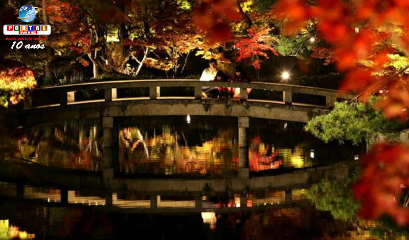 &nbspEspetáculo noturno do colorido do outono no templo budista