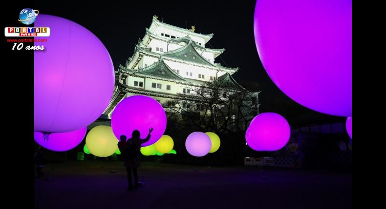 &nbspDezenas de esferas colorem e iluminam o Castelo de Nagoia