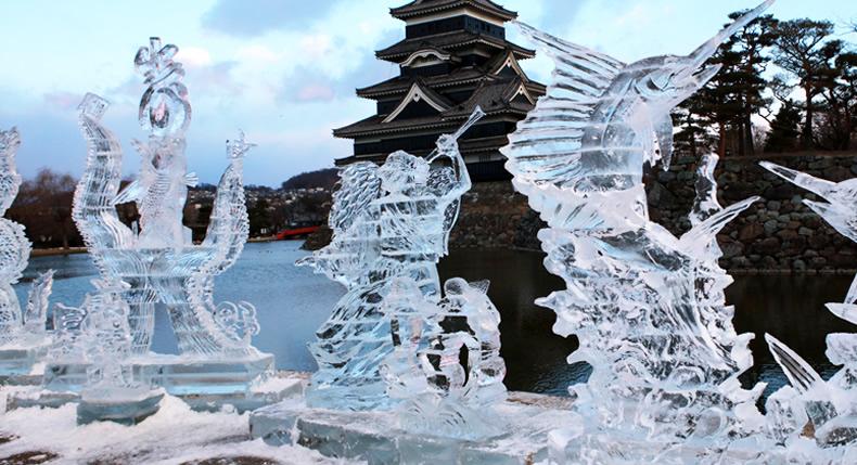 &nbspFestival de Esculturas de Gelo no Castelo de Matsumoto em Nagano