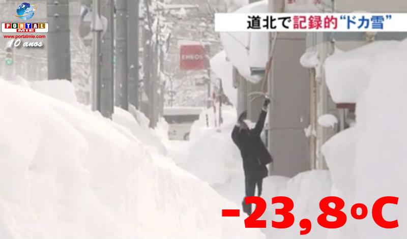 &nbspHokkaido com temperatura de -23,8ºC, recorde em 19 anos