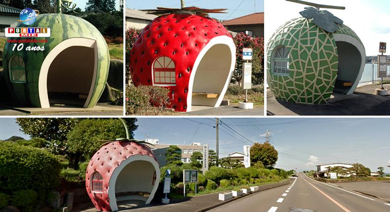 &nbspPontos de ônibus em formato de frutas dão toque especial à cidade no Japão