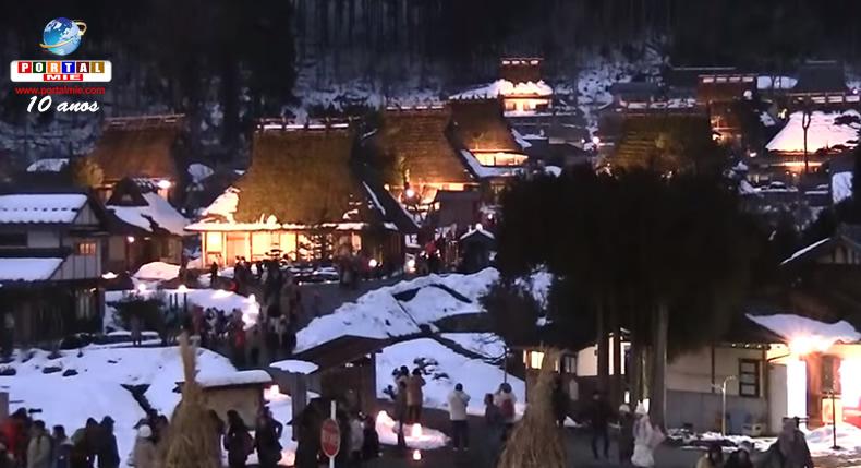 &nbspIluminação especial na bela Kayabuki no Sato em Quioto