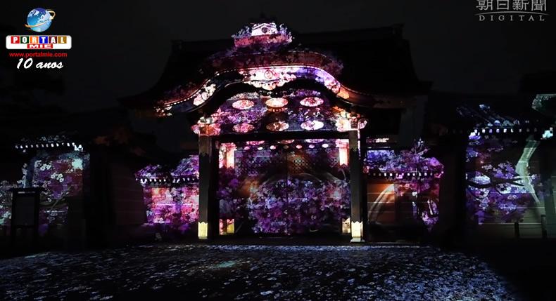 &nbspFestival de sakura com projeção mapeada no famoso Castelo de Nijo