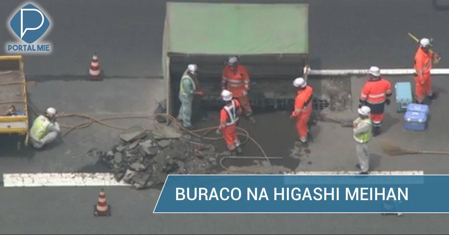 &nbspBuraco na Higashi Meihan: pedaços de concreto caem sobre caminhão