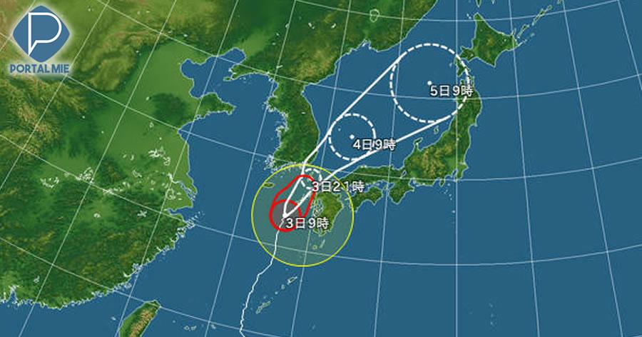 &nbspForte tufão se aproxima da região Kyushu