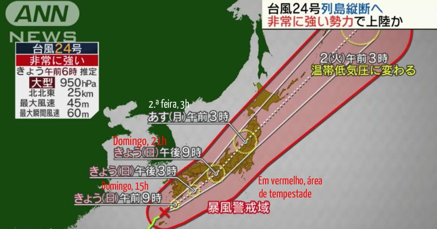 &nbspDomingo com tufão Trami: horários perigosos por região