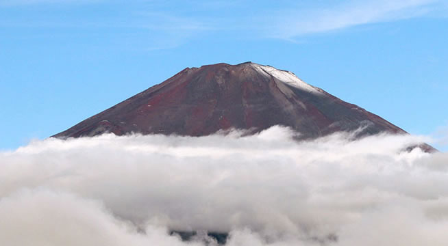 &nbspPrimeira neve da temporada no topo do Monte Fuji