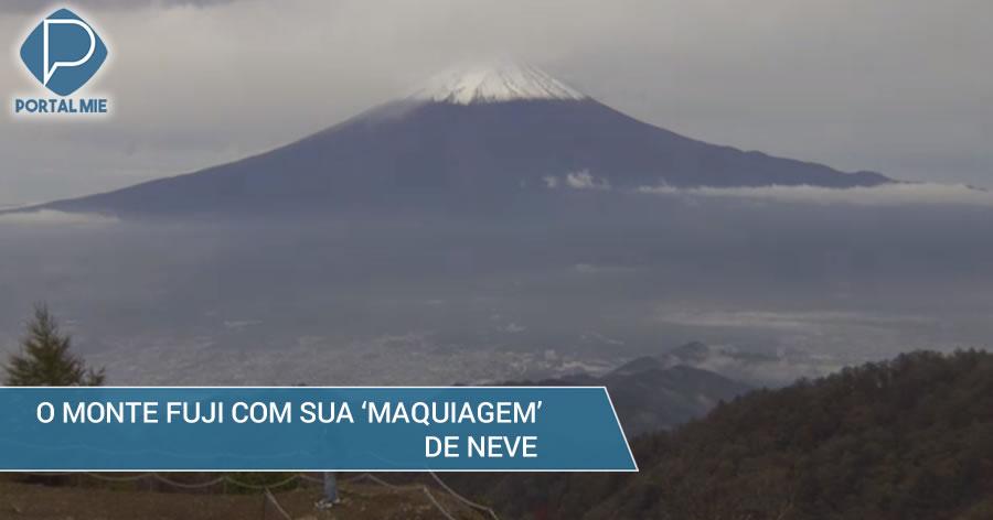 &nbspO belo Monte Fuji está coberto por véu de neve