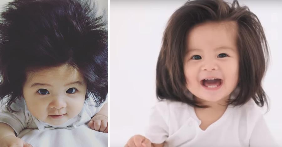 &nbspBebê cabeluda do Japão vira estrela de nova campanha de marca de xampu